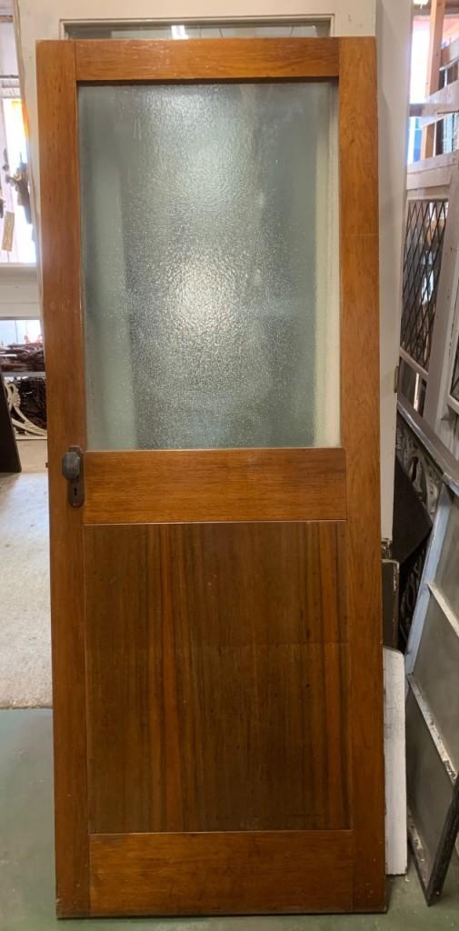Half glass internal timber door, original finish, 760 x 1990mm $140salvaged, recycled, demolition, reproduction, restoration, home renovation secondhand, used , original, old, reclaimed, heritage, antique, victorian, art nouveau edwardian, georgian, art deco