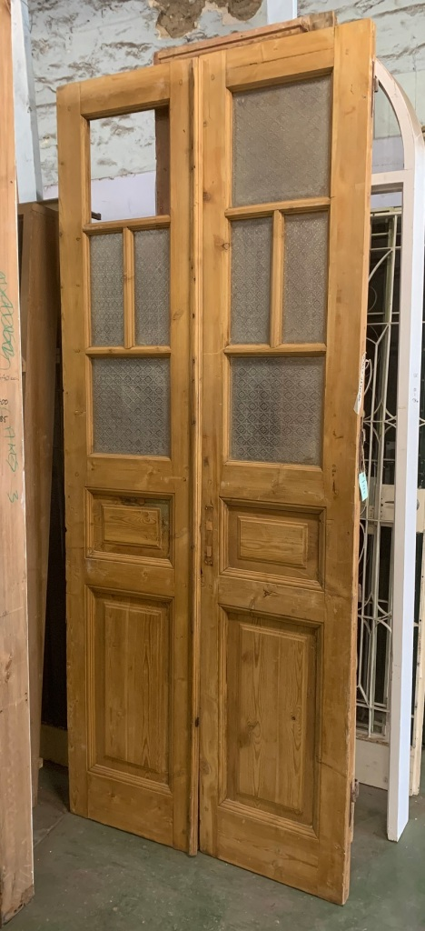Tall French door pair, stripped pine, glass panes, height
