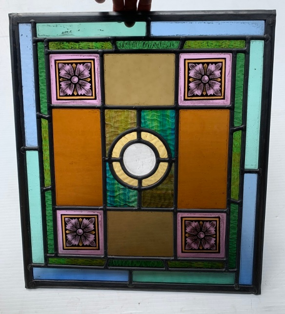 vintage Detail of Full colour Victorian style leadlight windows, made by Franz Kat, faceted clear glass features and hand painting. h390 x w350, 2 available, $265 eachsalvaged, recycled, demolition, reproduction, restoration, home renovation secondhand, used , original, old, reclaimed, heritage, antique, victorian, art nouveau edwardian, georgian, art deco
