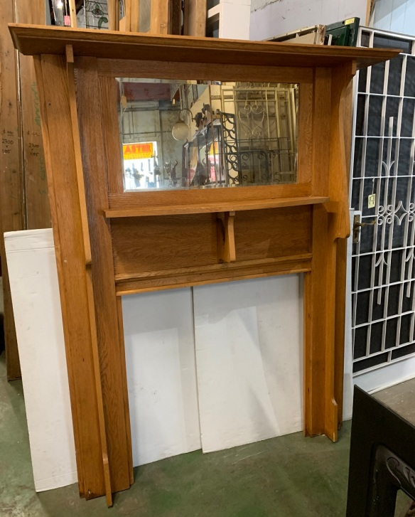 Tall silky oak fireplace mantel, double shelf with large bevelled mirror, height 1890 x width 1524mm, opening 910 x 910mm, $675salvaged, recycled, demolition, reproduction, restoration, home renovation secondhand, used , original, old, reclaimed, heritage, antique, victorian, art nouveau edwardian, georgian, art deco