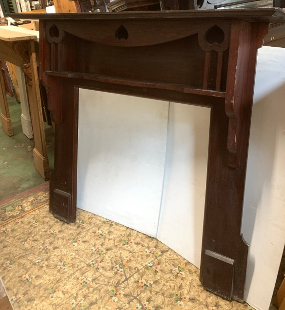 Arts and crafts era, double shelf timber mantelpiece, heart motif, top shelf width 1520 x height 1325mm, opening width 885 x height 895mm, $385 salvaged, recycled, demolition, reproduction, restoration, home renovation secondhand, used , original, old, reclaimed, heritage, antique, victorian, art nouveau edwardian, georgian, art deco