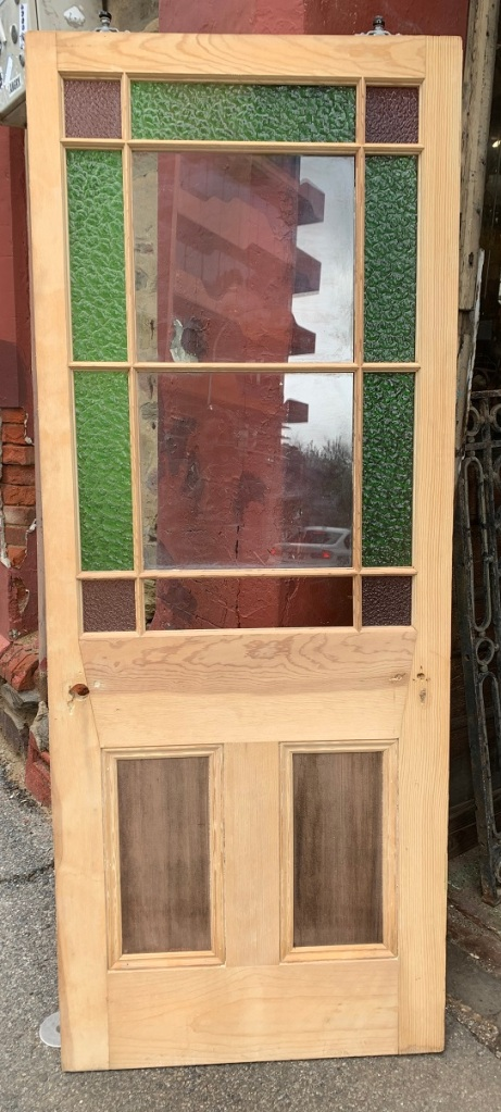 End of passage door Astragal door, stripped, green and dusky pink (one green panel needs replacing), w 797 x h 2015 x d 35mm salvaged, recycled, demolition, reproduction, restoration, home renovation secondhand, used , original, old, reclaimed, heritage, antique, victorian, art nouveau edwardian, georgian, art deco