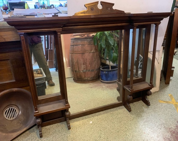 Edwardian era timber overmantle with three mirrors, width 145.5 x height 123cm $485 salvaged vintage recycled, demolition, reproduction, restoration, home renovation secondhand, used , original, old, reclaimed, heritage, antique, victorian, art nouveau edwardian georgian art deco