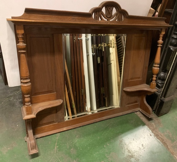 Edwardian / Arts and Crafts era timber overmantle, width 1295 x height 1070mm, $300salvaged vintage recycled, demolition, reproduction, restoration, home renovation secondhand, used , original, old, reclaimed, heritage, antique, victorian, art nouveau edwardian georgian art deco