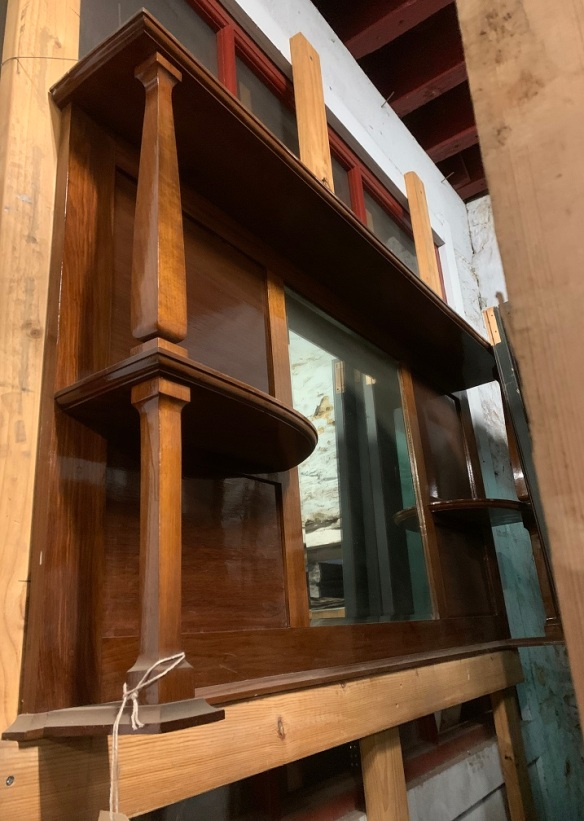Original timber fireplace overmantle with mirror, width 1465 x height 770mm $450salvaged vintage recycled, demolition, reproduction, restoration, home renovation secondhand, used , original, old, reclaimed, heritage, antique, victorian, art nouveau edwardian georgian art deco
