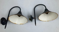 SOLD Wall mount porch lights 23cm diameter green overpainted black $90 the pair