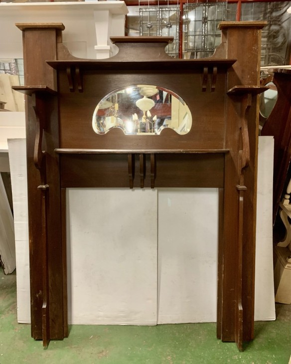 Early 1900s timber fireplace surround, double shelf, shaped bevelled edge mirror, height 1860 x width 1363mm, opening height 920 x 910mm, $445salvaged, recycled, demolition, reproduction, restoration, home renovation secondhand, used , original, old, reclaimed, heritage, antique, victorian, art nouveau edwardian, georgian, art deco