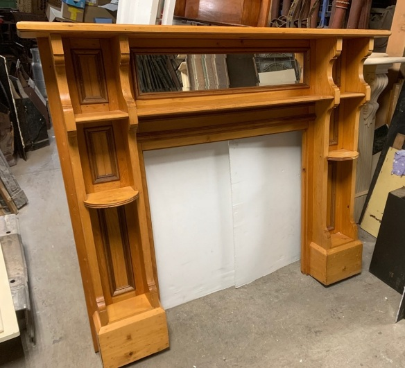 Original timber fireplace surround, double shelf, bevelled edge mirror, height 1400 x top shelf width 1685mm, opening height 910 x width 905mm, $545 salvaged, recycled, demolition, reproduction, restoration, home renovation secondhand, used , original, old, reclaimed, heritage, antique, victorian, art nouveau edwardian, georgian, art deco
