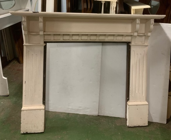 Edwardian fire surround, Baltic pine painted white, height 1290 x width 1590mm, opening height 960 x width 945mm, $485 salvaged vintage recycled, demolition, reproduction, restoration, home renovation secondhand, used , original, old, reclaimed, heritage, antique, victorian, art nouveau edwardian georgian art deco