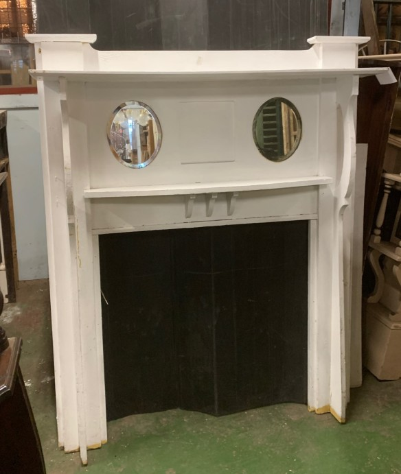 Early 1900s double shelf fireplace mantelpiece, oak, twin bevelled glass oval mirrors, painted white, height 1660 x top shelf width 1365mm, opening width 910 x h 905mm, $440 salvaged vintage recycled, demolition, reproduction, restoration, home renovation secondhand, used , original, old, reclaimed, heritage, antique, victorian, art nouveau edwardian georgian art deco
