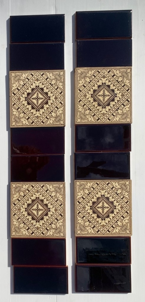 Original Victorian feature tiles c1895, deep brown print on cream clay base, two panel fireplace set, $240 (SET 296) salvaged, recycled, demolition, reproduction, restoration, home renovation secondhand, used , original, old, reclaimed, heritage, antique, victorian, art nouveau edwardian, georgian, art deco