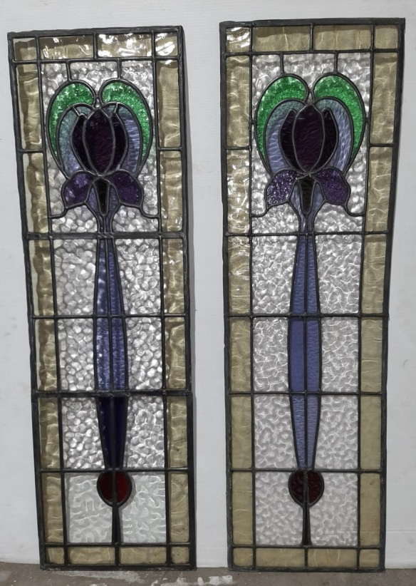 Uncommon iris design leadlight window panels in purples with green and red, pale yellow border, 1070 x 325mm, $425 each salvaged vintage recycled, demolition, reproduction, restoration, home renovation secondhand, used , original, old, reclaimed, heritage, antique, victorian, art nouveau edwardian georgian art deco