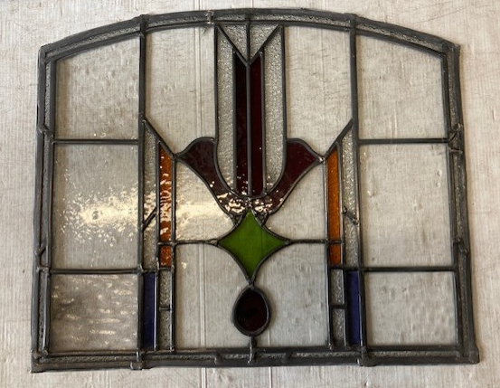 Arch top leadlight window panel, mostly clear glass with reds, green and yellow, 600w x 500h $330salvaged vintage recycled, demolition, reproduction, restoration, home renovation secondhand, used , original, old, reclaimed, heritage, antique, victorian, art nouveau edwardian georgian art deco