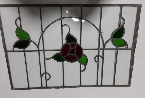 Art Nouveau style rose and leaves, clear glass 810 x 550 $245