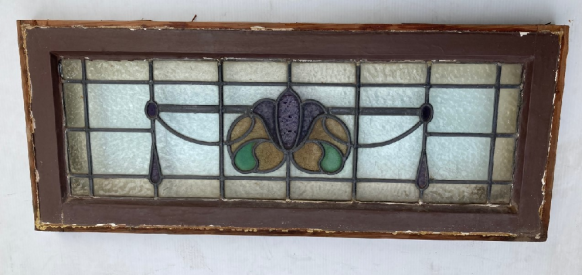 Timber framed leadlight window, Art Nouveau, purple, flower with green and yellow, 870h x 360w $325salvaged vintage recycled, demolition, reproduction, restoration, home renovation secondhand, used , original, old, reclaimed, heritage, antique, victorian, art nouveau edwardian georgian art deco