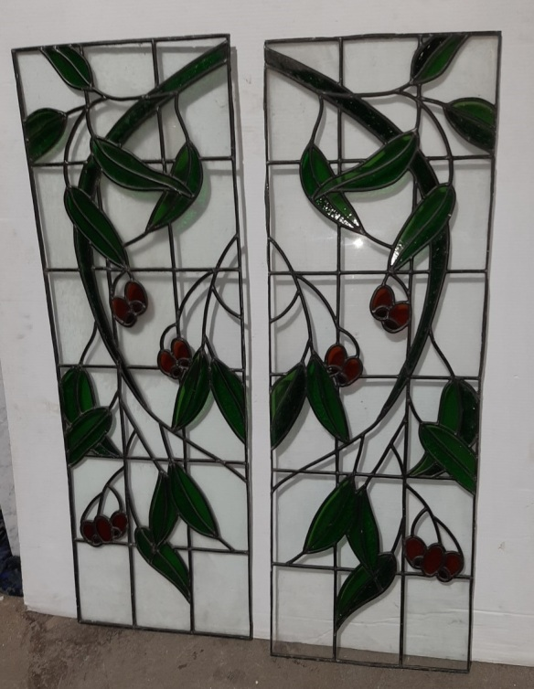 Gumnut and gum leaf design leadlight, greens, amber and brown with clear glass, each panel 900 x 300mm $485 for the pairsalvaged vintage recycled, demolition, reproduction, restoration, home renovation secondhand, used , original, old, reclaimed, heritage, antique, victorian, art nouveau edwardian georgian art deco