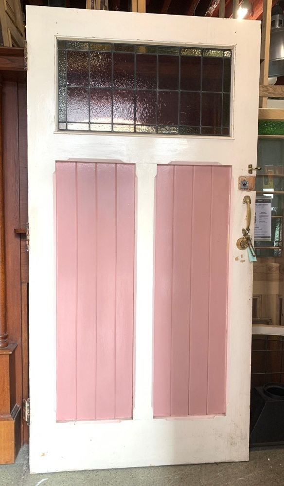 Oversized front door, post Federation 1901, (reverse side shown), leadlight panel in pink/mauve pale yellow, 2270 x 1140 x 50mm, $895salvaged vintage recycled, demolition, reproduction, restoration, home renovation secondhand, used , original, old, reclaimed, heritage, antique, victorian, art nouveau edwardian georgian art deco