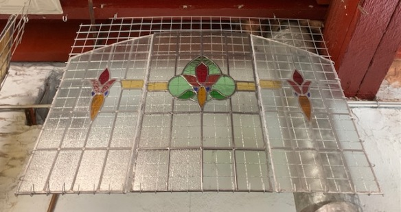 salvaged, recycled, demolition, reproduction, restoration, home renovation secondhand, used , original, old, reclaimed, heritage, antique, victorian, art nouveau edwardian, georgian, art decoArched three panel leadlight window set, total height 800mm x total width 1190mm $650 set