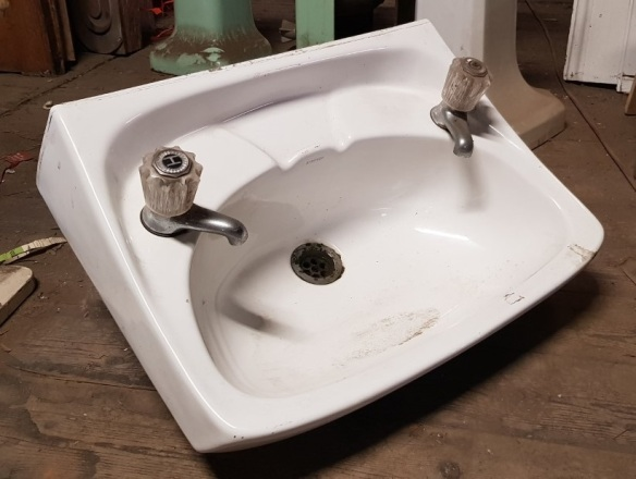 White porcelain hand basin with taps, 'D' $35 salvaged vintage recycled, demolition, reproduction, restoration, home renovation secondhand, used , original, old, reclaimed, heritage, antique, victorian, art nouveau edwardian georgian art deco