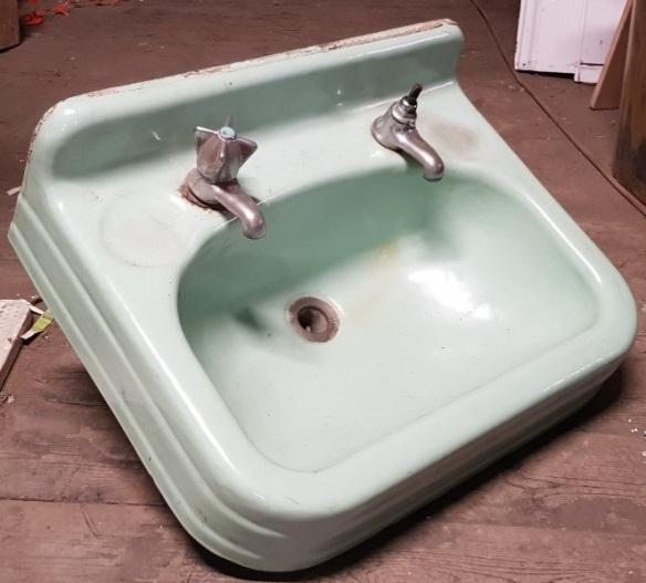 Vintage green enamel hand basin, cast iron, 'C' $45salvaged vintage recycled, demolition, reproduction, restoration, home renovation secondhand, used , original, old, reclaimed, heritage, antique, victorian, art nouveau edwardian georgian art deco