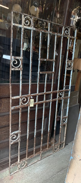 decorative wrought iron screen / panel, solid square and flat bar with scrolls. 970 x 1890mm, $685salvaged vintage recycled, demolition, reproduction, restoration, home renovation secondhand, used , original, old, reclaimed, heritage, antique, victorian, art nouveau edwardian georgian art deco