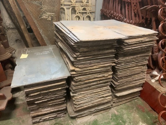 Original English slate roof shingles approx 150 available, height 60-61cm x width 30-35cm