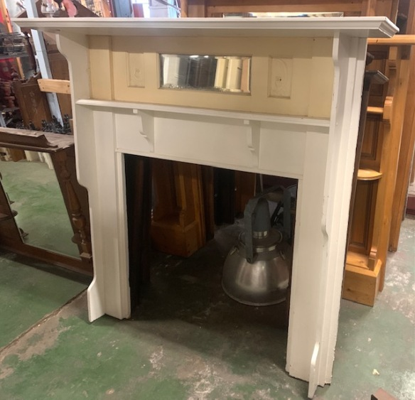 Original timber fireplace mantelpiece, bevel edged mirror, pressed metal owl on a crescent moon panels, height 1470 x width 1525mm, opening width 910 x height 915mm, $345 salvaged, recycled, demolition, reproduction, restoration, home renovation secondhand, used , original, old, reclaimed, heritage, antique, victorian, art nouveau edwardian, georgian, art deco